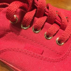 Red Vans Shiny Gold Eyelets For The Laces